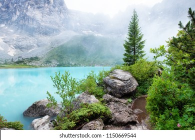 Forest and turquoise lake in the Dolomites apls, Italy. Sorapis lake in the Italy. Beautiful landscape at the summer time