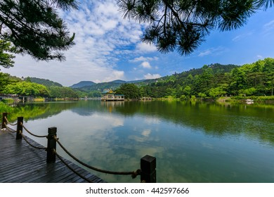Forest under the blue sky around the mountain lake, pavilion in the quiet lake reflection formed,with the Lake Road and pine prospect in the world natural heritage Mount Lushan