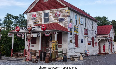 Forest, VA / USA - 8/30/2020: A store front image of Rick's Antiques & General Store located in Forest, Virginia.