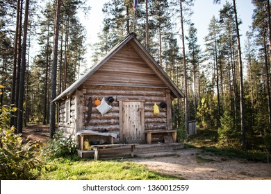 Forest warden's hut (forest lodge, small house of Forester) in the old pinery (taiga, boreal forest) in vintage style