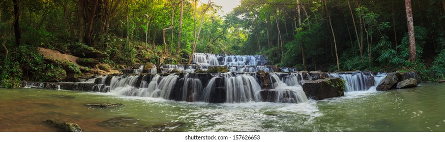 forest waterfall at National Park, Panorama