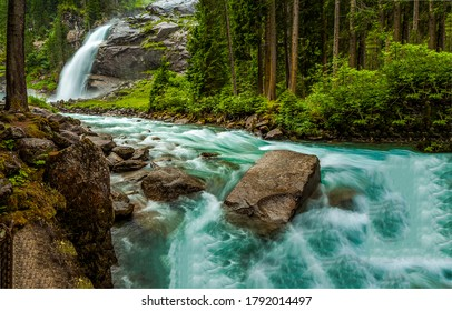 Forest waterfall river stream view. River wild in forest. Forest river rapid. River rock water