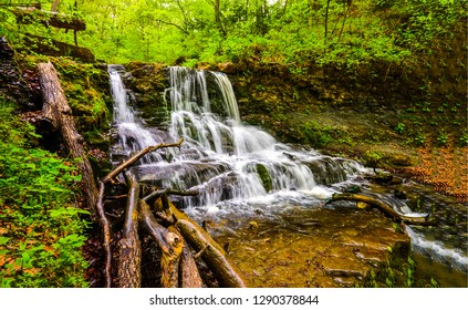Forest waterfall river view. Wild river waterfall in deep forest. Forest river waterfall landscape