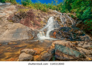 Forest and waterfall at Ton Nga Chang Waterfall, Songkhla, Thailand.