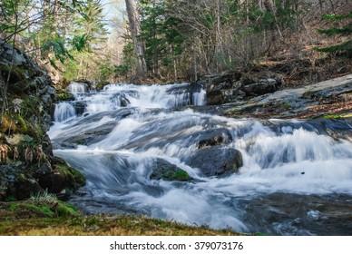Forest waterfall, wild river, Primorye, Russia