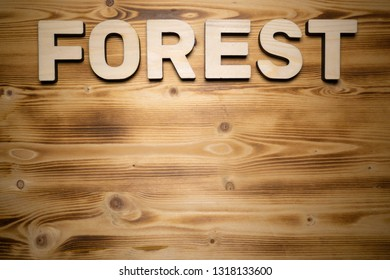 FOREST word made with building blocks on wooden board