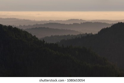 Forested mountains of the Coastal Range of northern California, in Mendocino County.
