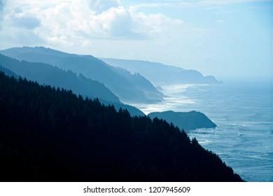 Forested slopes of Cape Perpetua on the Oregon coast