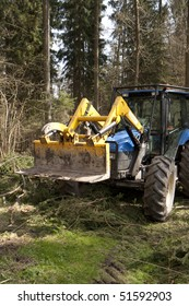 Forester's tractor in a wood