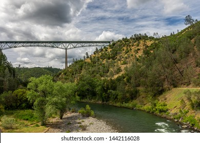 Foresthill Bridge at Auburn State Recreation Area in California is the 4th highest bridge in the United States.  It crosses the American River in the foothills of the Sierra Nevadas