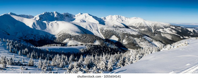 Forests and ridges covered with snow - panorama of Western Tatras. Winter scenery in the mountains.