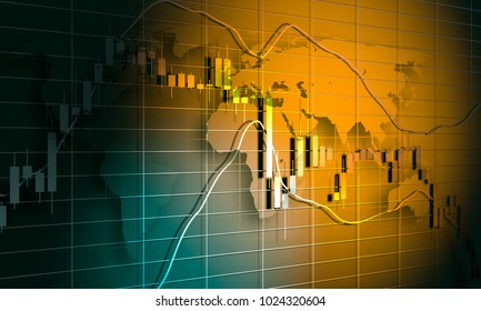 Forex candlestick pattern. Trading chart concept. Financial market chart. World map. 3D rendering