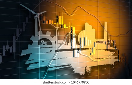 Forex candlestick pattern. Trading chart concept. Financial market chart. Energy and Power icons set and grunge brush stroke. Energy generation and heavy industry. 3D rendering