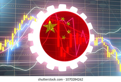 Forex candlestick pattern. Trading chart concept. Financial market chart. Gear with flag of the China. 3D rendering