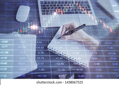 Forex chart displayed on woman's hand taking notes background. Concept of research. Multi exposure