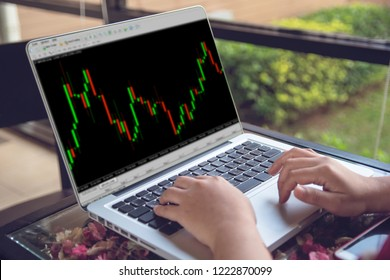 Forex concept : Business people working with stock trading forex on laptop