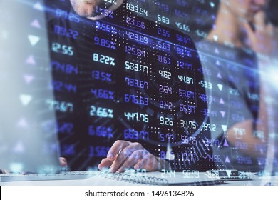 Forex graph with businessman working on computer in office on background. Concept of analysis. Double exposure.