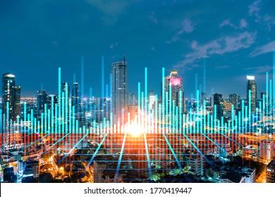 Hologramme graphique FOREX, paysage urbain panoramique aérien de nuit de Bangkok, le lieu développé pour les chercheurs en bourse en Asie. Le concept d'analyse fondamentale. Double exposition.