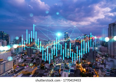 FOREX graph hologram, aerial night panoramic cityscape of Bangkok, the developed location for stock market researchers in Asia. The concept of fundamental analysis. Double exposure. - Shutterstock ID 1770419453