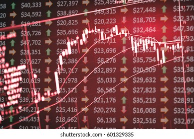 Forex market background, Digital screen of trading in the currency market. Currency exchange rate for world wide currency such as US Dollar, Euro, Yuans and Yen.