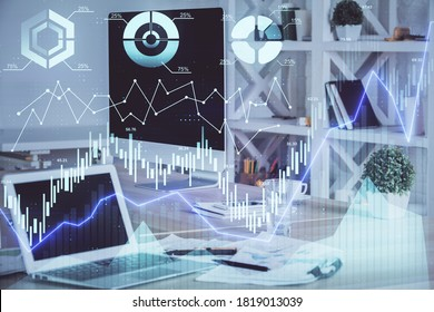 Forex market chart hologram and personal computer background. Double exposure. Concept of investment.