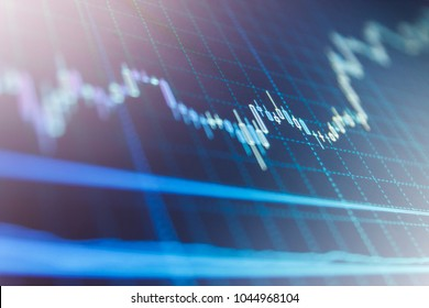 Forex market charts on computer display. Business analysis diagram. Candle stick graph chart. Share price candlestick chart. Fundamental and technical analysis concept. Price chart bars.