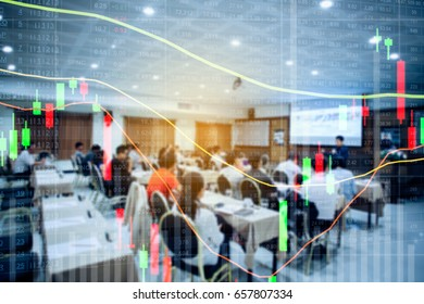 forex. Stock chart. blur people lecture in seminar room. education or training  Investment seminar concept.