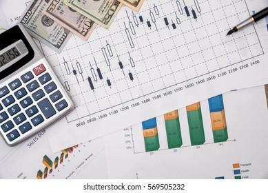 Forex trading with dollar bills.