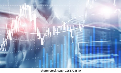 Forex trading, Financial market, Investment concept on business center background