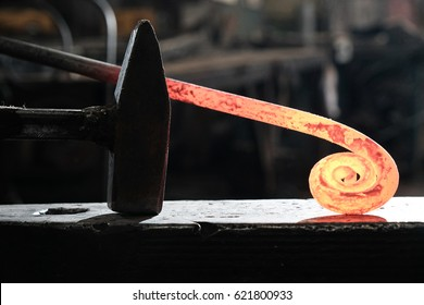 Forge, blacksmith's work, hot metal