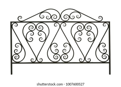 Forged decorative  fence. Ornament. Isolated over white background.
