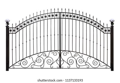 Forged gates  with decor.  Isolated over white background.