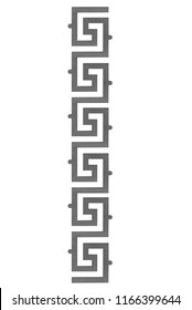 Forged iron steel greek style fence and stairs ornament isolated on white background