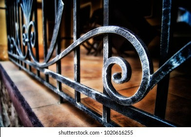 forged metal fence in retro style
