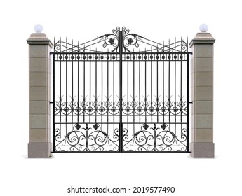 Forged openwork gate with columns in the old style. Isolated over white background.