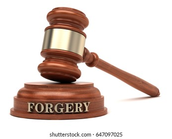 Forgery text on sound block & gavel. 3d illustration.