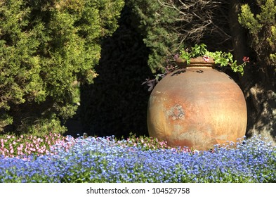Forget me not garden with big jar