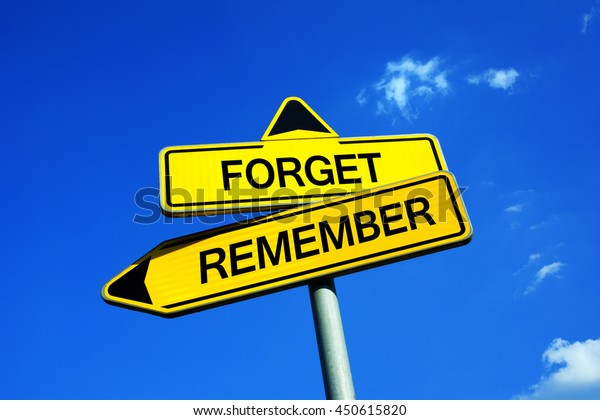 Forget or Remember - Traffic sign with two options - choice to improve memory  recall, remembrance, recollection, reminiscence and prevent forgetting