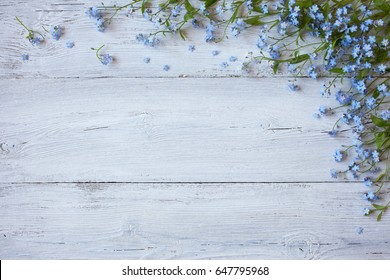 Forget-me-not on a wooden background