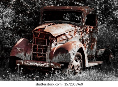 Forgotten old rusted Chevy truck