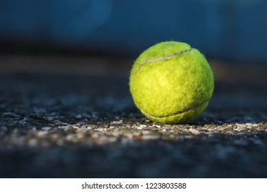 Forgotten tennis ball on the tennis court, morning light complements the atmosphere, in the dark background, symbolizing the end of this season and there is autumn