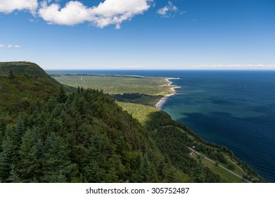 Forillon National Park as seen from the viewpoint atop Mt-St-Alban, Gaspe Peninsula, Quebec, Canada