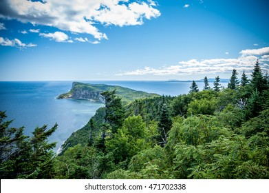 Forillon National Park as seen from the viewpoint atop Mount-St-Alban, Gaspe Peninsula, Quebec, Canada