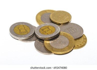 The forint (sign: Ft; code: HUF) is the currency of Hungary. Isolated white background macro picture of forint coins.