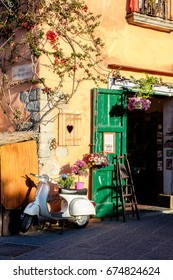 FORIO, ITALY, 8 MAY: a typical european street corner with little shops in Forio d'Ischia, Island of Ischia, Italy on May 8, 2017.