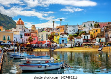 Forio, Italy - April 10 2019: Historical Old town of Forio, known for its colorful traditional houses and fine sand beach, is a popular tourist resort on Ischia island, Naples