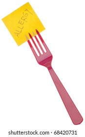 Fork with Allergy Message Isolated on White with a Clipping Path.