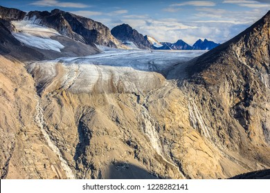 Fork Beard Glacier where it wraps around Mount Thor in Auyuittuq National Park, Nunavut, Baffin Island