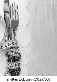 fork and knife , diet menu