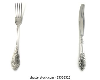 Fork and knife isolated over white background